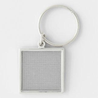 White Silver Carbon Fiber (Faux) Patterned Key Ring