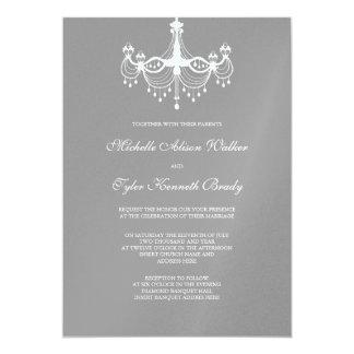 White & Silver Chandelier Invitation