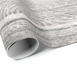 White Silver Gray Graphite Grungy Wood Rustic Wrapping Paper
