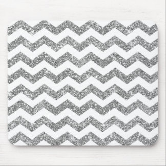White Silver Gray Stripes Chevron Glitter Zig Zag Mouse Pad