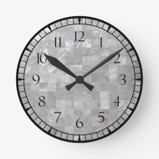White Silver Mother Of Pearl Tiled With Numbers Clocks