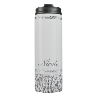 White Silver Sequin Glitter Leopard Cheetah Print Thermal Tumbler