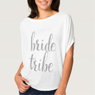 White & silver sparkle bride tribe shirt