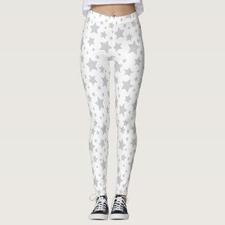 White Silver Stars Leggings
