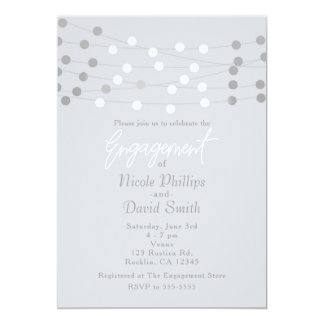 White Silver String Lights Modern Chic Engagement Card
