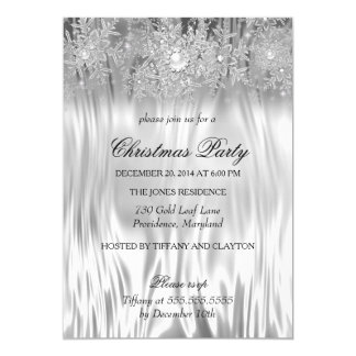 White Silver Winter Wonderland Christmas Party 13 Cm X 18 Cm Invitation Card