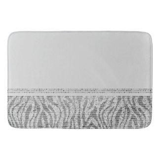 White Silver Zebra Wild Animal Print Exotic Glam Bath Mat