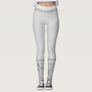 White Silver Zebra Wild Animal Print Exotic Glam Leggings