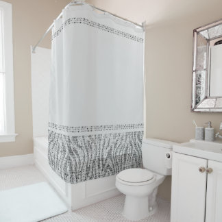 White Silver Zebra Wild Animal Print Exotic Glam Shower Curtain