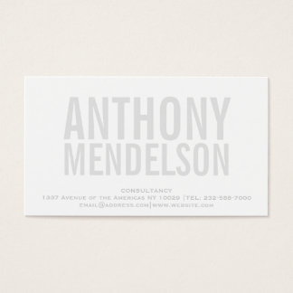 White simple bold business card