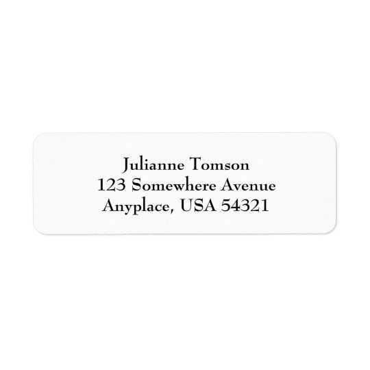 White Simple Plain Return Address Labels