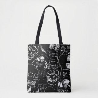 White Sketchbook Skulls Tote Bag