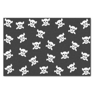 White Skull and Crossbone on Black Tissue Paper