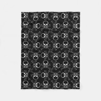 White Skull and Crossbones graphic Pattern Fleece Blanket