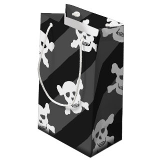 White Skull and Crossbones on Black Stripes Small Gift Bag