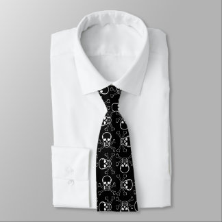 White Skull and Crossbones Tie