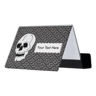 White Skull Black Eyes Elegant Black White Damask Desk Business Card Holder
