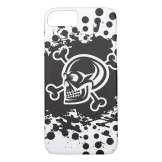 White Skull-Black Splatter iPhone 7 Case