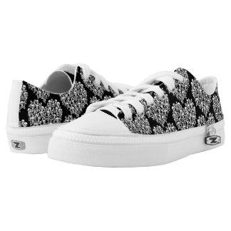 White Skull & Crossbones on Black Zipz Shoes
