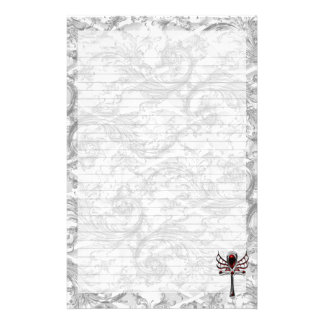 White Skull Damask Vampire Ankh Goth Art Stationery