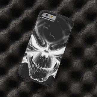 white skull head on black background tough iPhone 6 case