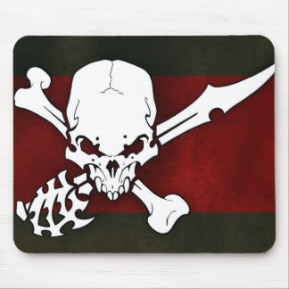 white skull head with cross bonesd red background mouse pad