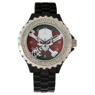 white skull head with cross bonesd red background wrist watches
