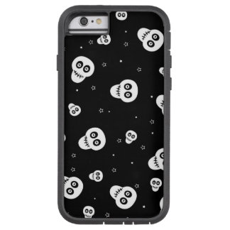 white skull heads on black background tough xtreme iPhone 6 case