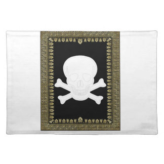 white skull image placemat