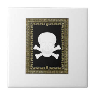 white skull image small square tile