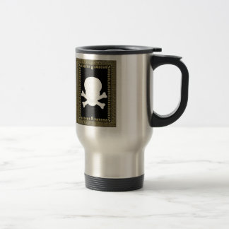 white skull image travel mug