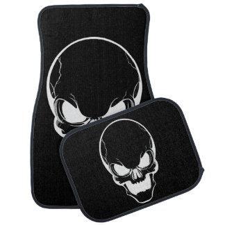 White Skull on Black Car Mat