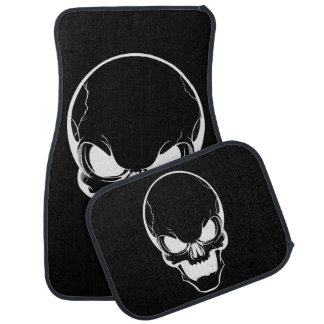 White Skull on Black Floor Mat