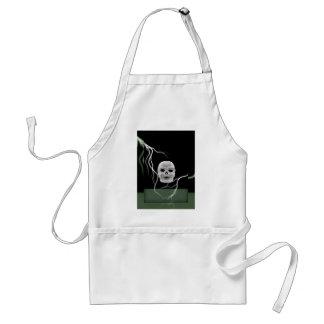 White Skull on Black Lightening Bolts Halloween Adult Apron