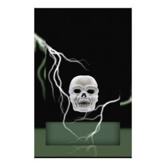 White Skull on Black Lightening Bolts Halloween Stationery Paper