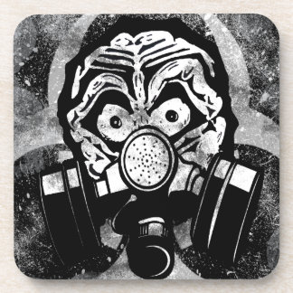 White Skull /w Gas Mask Beverage Coasters