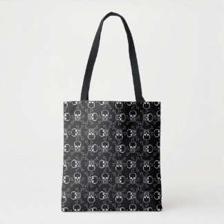 White Skulls and Crossbones graphic Pattern Tote Bag