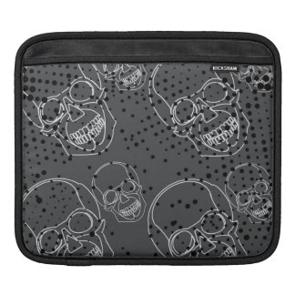 White skulls with rustic grunge halftones iPad sleeves