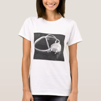 White smartphone charger on wooden table T-Shirt
