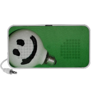 White smiling bulb on green background speakers