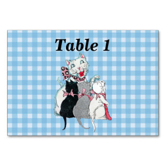 White Smiling Mother Cat Three Kittens on Plaid Card