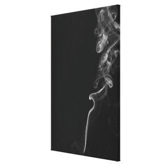 White Smoke Against A Black Background Canvas Print