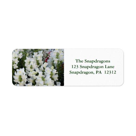 White Snapdragons Avery Return Address Label