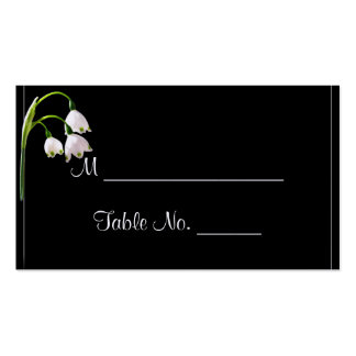 White Snow Bell Flowers Wedding Place Cards Business Cards