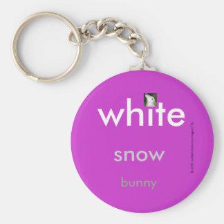 White Snow Bunny Chain Basic Round Button Key Ring
