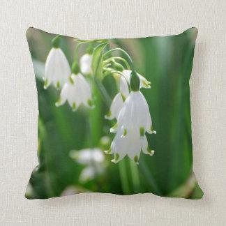 White Snow Drop Lilies Throw Pillow