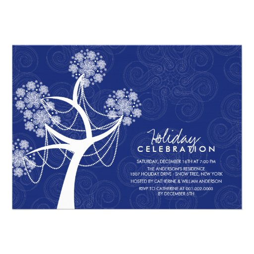 White Snow Flower Tree Lights Holiday Celebration Personalized Invite