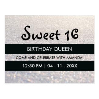 White Snow Glitter Stripes Sweet Sixteen Birthday Postcard