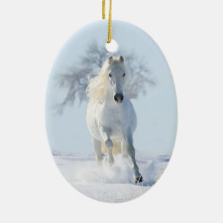 White Snow Stallion & Tree Horse Holiday Ornament