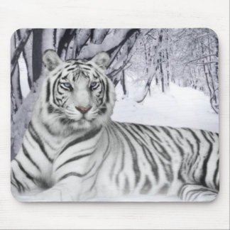 White Snow Tiger Mouse Pad